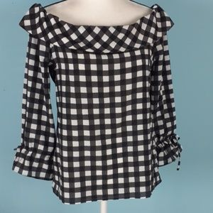 Banana Republic small off shoulder plaid blouse